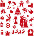 Christmas icons illustration of red isolated Stock Image