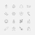 Christmas icons outline for web vector illustration Stock Image