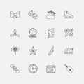Christmas icons outline for web vector illustration Royalty Free Stock Images