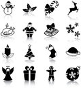 Christmas icons related silhouettes Royalty Free Stock Photography