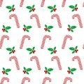 Christmas icons seamless background with holly berry. Happy winter holidays Wallpaper with elements of nature.