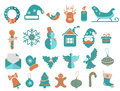 Christmas icons set for beautiful holiday design Stock Photos