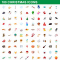 100 christmas icons set, cartoon style