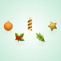 Christmas icons a set of consisting of stars streamers tree toys eating twigs and berries of viburnum Stock Photos