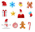 Christmas icons set isolated on white Royalty Free Stock Photography