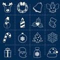 Christmas icons set outline holiday decoration with deer wreath bell angel isolated vector illustration Royalty Free Stock Photography