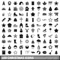 100 christmas icons set, simple style