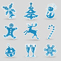 Christmas icons set with tree snowman candy snowflake vector Royalty Free Stock Image