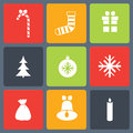 Christmas icons set vector illustration of flat Stock Photography