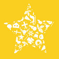 Christmas icons in star shape Stock Photo