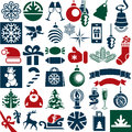 Christmas icons vector collection attributes set Royalty Free Stock Image