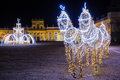 Christmas illuminations in the park in Wilanow Royalty Free Stock Photo