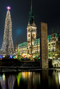 Christmas illuminations at square before Rathaus in Hamburg Stock Photos