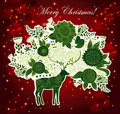 Christmas illustration with beautiful deer Royalty Free Stock Photography
