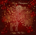 Christmas illustration with beautiful deer Royalty Free Stock Photo