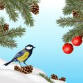 Christmas illustration with blue tit and decorations Royalty Free Stock Photo