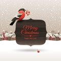 Christmas illustration with bullfinch