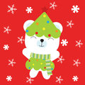 Christmas illustration with cute baby bear on snowflakes and red background