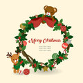 Christmas illustration with cute elements on white background.