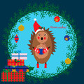 Christmas illustration with cute hedgehog Royalty Free Stock Photo