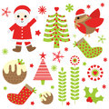 Christmas illustration with cute Santa Claus, bird, and Xmas ornaments suitable for Xmas sticker set and clip art