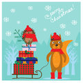 Christmas illustration with cute squirrel and hedgehog Royalty Free Stock Photo