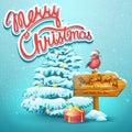 Christmas illustration with fir, pointer, bullfinch