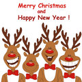 Christmas illustration of four cartoon reindeer. Royalty Free Stock Images