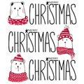 Christmas illustration with funny bears. Hand drawn vector teddy