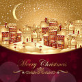 Christmas illustration with gold town Stock Photos