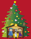 Christmas illustration of nativity with tree Royalty Free Stock Images