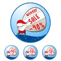 Christmas illustration with santa claus bag of sales sale buttons set eps vector Royalty Free Stock Photography