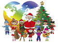 Christmas illustration of santa claus with children Royalty Free Stock Photo