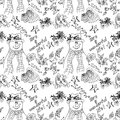 Christmas illustration snowmen in hats and scarves it s a wonderful life christmas card seamless pattern Royalty Free Stock Photo