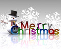 Christmas illustration with text and snowman Stock Images