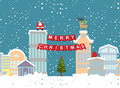 Christmas illustration of winter city and garland. Background fo Royalty Free Stock Photo