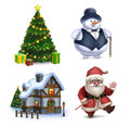 Christmas illustrations collection santa claus snowman tree and sweet home Royalty Free Stock Photos