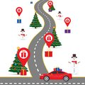 Christmas infographics template with a road and navigational pointers and a map with gift boxes.