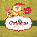 Christmas invitation card with cute little bird fox Stock Images