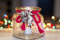Christmas jar  candle for home decoration Royalty Free Stock Photo