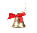 Christmas jindle bell and red bow jingle on a white background Stock Photos