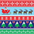 Christmas jumper or sweater seamless pattern with santa and reindeer Royalty Free Stock Photo
