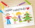 image photo : Christmas kid drawing