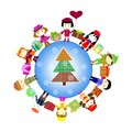 Christmas kids background children in planet winter on the Royalty Free Stock Photography