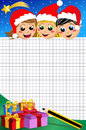 Christmas kids looking at empty squared sheet illustration featuring happy with xmas hats night down of paper ready for text e Stock Photo