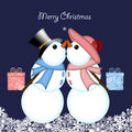 Christmas Kissing Snowman Couple Giving Gifts Stock Image