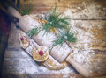Christmas kitchen table background of Stock Photography