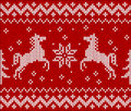 Christmas knit in norway style with horses vector illustration Royalty Free Stock Image