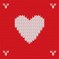 Christmas Knitted background with heart. Vector
