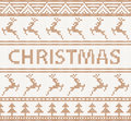 Christmas knitted pattern with deers seamless in scandinavian style Royalty Free Stock Photo